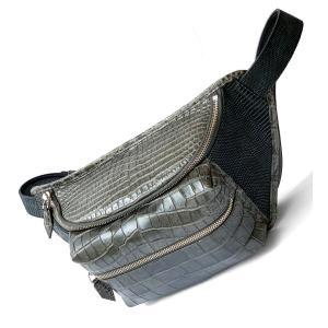 ボディバッグ クロコダイルレザー リザードレザー ヌバック ブランド レザック 日本製 高級 本革 墨黒|solfiglio