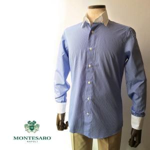 ドレスシャツ シャツ コットン ブルー クレリック タブカラー 180番手 白蝶貝ボタン メンズ ナポリシャツ|solfiglio