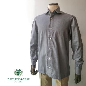 カジュアルシャツ シャツ コットンフランネル ブランド MONTESARO モンテサーロ ラウンドカラー メンズ ナポリシャツ|solfiglio