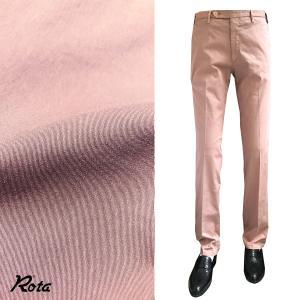 ボトムス メンズ ブランド Rota スリム ストレッチ コットン パンツ ピンク|solfiglio