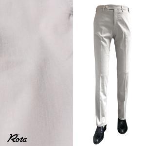 ボトムス メンズ ブランド Rota スリム ストレッチ コットン シルク パンツグレー|solfiglio