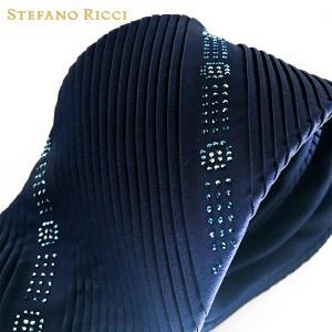 ネクタイ スワロフスキー 高級 ブランド STEFANO RICCI ステファノリッチ イタリア プリーツタイ 御洒落 メンズ 紳士服 ネイビー 9.5cm|solfiglio