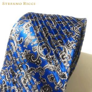 ネクタイ 高級 ブランド STEFANO RICCI ステファノリッチ イタリア プリーツタイ 御洒落 メンズ 紳士服 ブルー 9.5cm|solfiglio
