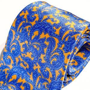 ネクタイ 高級 ブランド STEFANO RICCI ステファノリッチ イタリア プリントタイ 御洒落 メンズ 紳士服 オレンジ 9.5cm|solfiglio