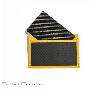 テックサブラージュカード カードケース 定期入れ パスケース  ブランド カーボンファイバー チタン TecknoMonster テクノモンスター イタリア製 イエロー|solfiglio