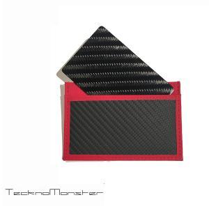 テックサブラージュカード カードケース 定期入れ パスケース  ブランド カーボンファイバー チタン TecknoMonster テクノモンスター イタリア製 レッド|solfiglio