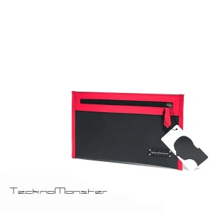ドキュメントケース Sサイズ クラッチバッグ ポーチ ブランド ソフトカーボンファイバー カーフレザー TecknoMonster テクノモンスター イタリア製|solfiglio