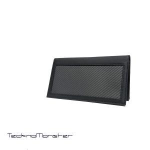 長財布 財布 札入れ TecknoMonster テクノモンスター ブランド カーボンファイバー カーフレザー  イタリア製 カーボン リアルカーボン|solfiglio