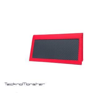長財布 財布 札入れ レッド TecknoMonster テクノモンスター ブランド カーボンファイバー カーフレザー  イタリア製 カーボン リアルカーボン|solfiglio