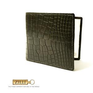財布 折財布 メンズ レディース ブランド ZILLI ジリー アリゲーター 本革 エキゾチックレザー モスグリーン|solfiglio