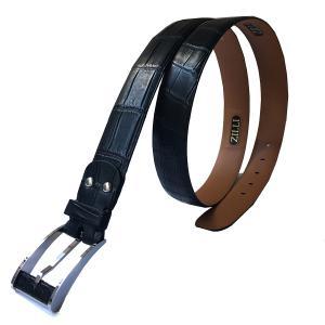 ベルト メンズ ブランド ZILLI ジリー クロコダイル 本革 ブラック|solfiglio