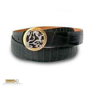 ベルト メンズ ブランド ZILLI ジリー クロコダイル ポロサス エキゾチックレザー 高級 バイカラーライオンバックル カーフレザー 本革 ブラック 黒|solfiglio