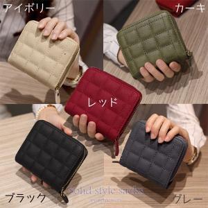 二つ折財布 キルティング ミニ財布 レディース  多機能 多収納|solidstyle-labo