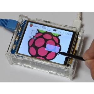Raspberry Pi(ラズベリーパイ)用液晶モニタ(B+/2B/3B用タッチパネル液晶ディスプレー) 3.2inch RPi LCD 初心者向け説明書、ケース、ヒートシンク、サポート付 solinnovay