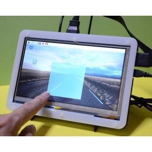 Raspberry Pi(ラズパイ)用液晶モニタ(静電タッチ 1024X600) WaveShare 7inch HDMI LCD C(USBタッチ)Rev.2.1(Windows対応) & 電子工作対応フレームスタンド solinnovay