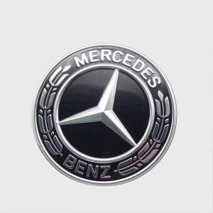 ベンツ W203 W205 ボンネットバッチ ボンネットエンブレム ローレルリース ブラック 直径5...