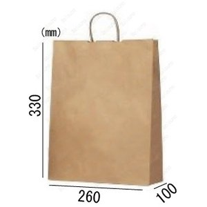 紙袋 手提げ袋 未晒 茶色 無地  丸紐 HA-4 200枚 26×10×33cm 業務用まとめ買い solouno