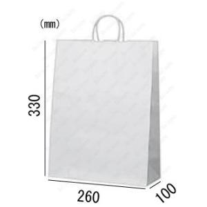 紙袋 手提げ袋 片艶晒 白 無地 丸紐 HA-4 200枚 26×10×33cm 業務用まとめ買い solouno