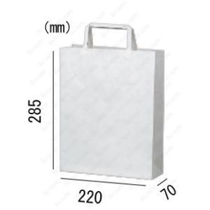 紙袋 手提げ袋 片艶晒 白 無地 平紐 HA-6 400枚 22×7×28.5cm 業務用まとめ買い solouno