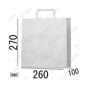 紙袋 手提げ袋 白 エコ RCホワイト 平紐 HA-4s 200枚 26×10×27cm 古紙使用率100% 業務用まとめ買い solouno