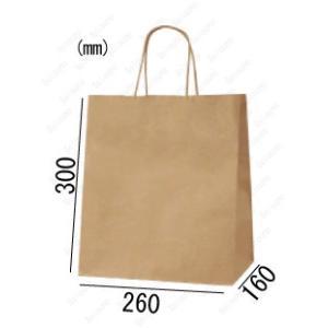 紙袋 手提げ袋 未晒 茶色 無地 マチ広 丸紐 HW-4 200枚 26×16×30cm 業務用まとめ買い solouno