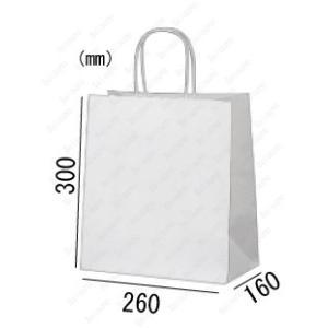 紙袋 手提げ袋 片艶晒 白 無地 マチ広 丸紐 HW-4 200枚 26×16×30cm 業務用まとめ買い solouno