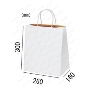 紙袋 手提げ袋 白 R・S マチ広 丸紐 HW-4 200枚 26×16×30cm 業務用まとめ買い solouno