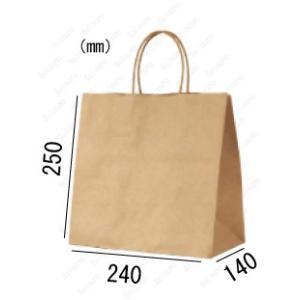 紙袋 手提げ袋 未晒 茶色 無地 マチ広 丸紐 HW-4s 300枚 24×14×25cm 業務用まとめ買い solouno