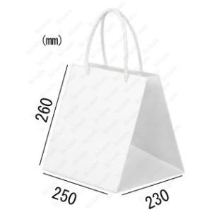 紙袋 手提げ袋 晒 白 無地 キューブ 紙3本紐 Q-230 50枚 25×23×26cm 業務用まとめ買い solouno