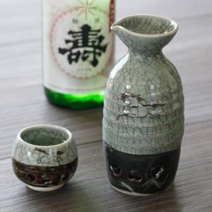 大堀相馬焼 松永窯 二重ぐい呑み (青ひび) 陶器 焼き物 ギフト プレゼントに|soma-yaki|03