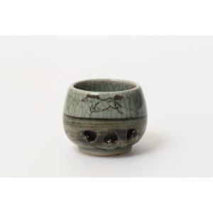 大堀相馬焼 松永窯 二重ぐい呑み (青ひび) 陶器 焼き物 ギフト プレゼントに|soma-yaki|04