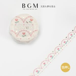 BGM マスキングテープ ライフ 箔押し 剌しゅう・ピンク 15mm 1.5cm 15ミリ幅 レース...