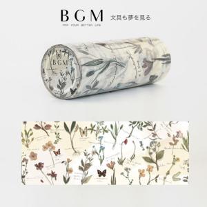 BGM マスキングテープ ライフ Life レトロな花 BM-LP004 100mm幅 10cm フ...