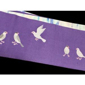半幅帯「文鳥たち」|some-moyou