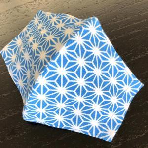 和柄布マスク 「麻の葉(水色)」 本染江戸手拭使用|some-tsuka
