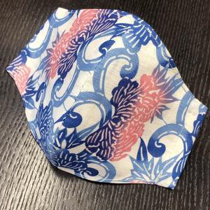和柄布マスク 「牡丹唐草(ぼたんからくさ)」綿麻浴衣地使用|some-tsuka
