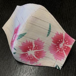 和柄布マスク 「撫子(なでしこ)」綿麻浴衣地使用|some-tsuka