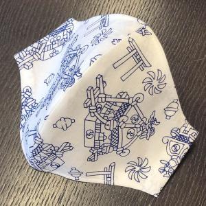 和柄布マスク 「みこし」 プリント染め手拭使用|some-tsuka