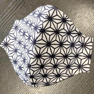 和柄布マスク 「麻の葉(白地に濃紺)」 プリント染め手拭使用|some-tsuka