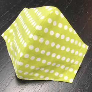和柄布マスク 「まめしぼり(黄緑)」 江戸手拭使用|some-tsuka