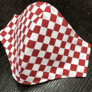 着物屋が作った和柄布マスク「市松(赤白)」プリント染め手ぬぐい使用 おしゃれ 男性用 女性用 子供用 洗える 日本製|some-tsuka