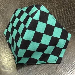 着物屋が作った和柄布マスク「市松(緑黒)」本染江戸手ぬぐい使用 おしゃれ 男性用 女性用 子供用 洗える 日本製|some-tsuka