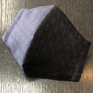 着物屋が作った和柄布マスク「黒地蚊絣紬」表地絹100% おしゃれ 男性用女性用あり 洗える 日本製|some-tsuka