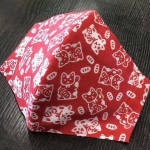 着物屋が作った和柄布マスク「まねき猫」プリント染め手ぬぐい使用 おしゃれ 男性用 女性用 洗える 日本製|some-tsuka