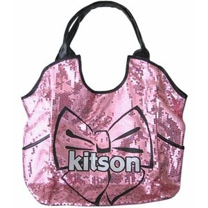 KITSON/キットソン スパンコールトートバッグ Los Angeles Bow Sequin Tote Black/Pink something