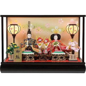 雛人形 No.306-52 ガラスケース入り 親王飾り オルゴール付 目玉商品 soneningyo