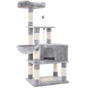 FEANDREA キャットタワー 据え置き 巨大猫ハウス 耐荷重7kgハンモック ふかふか 頑丈耐久...