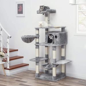 【圧倒的なサイズ感】174cm高さに昇格した新デザインのネコタワーです。成年男性と比べても負けない高...