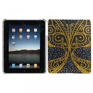 SIMフリー タブレット 端末 Hard Plastic Snap on Cover Fits Apple iPad Golden Butterfly Full DiamondRhinestone|sonicmarin