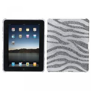 SIMフリー タブレット 端末 Hard Plastic Snap on Cover Fits Apple iPad Black Zebra Skin Full DiamondRhinestone|sonicmarin